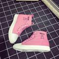 Высокие классические ботинки холстины женщин плоским осень платформа белый черный розовый Вулканизируют Обувь 2017