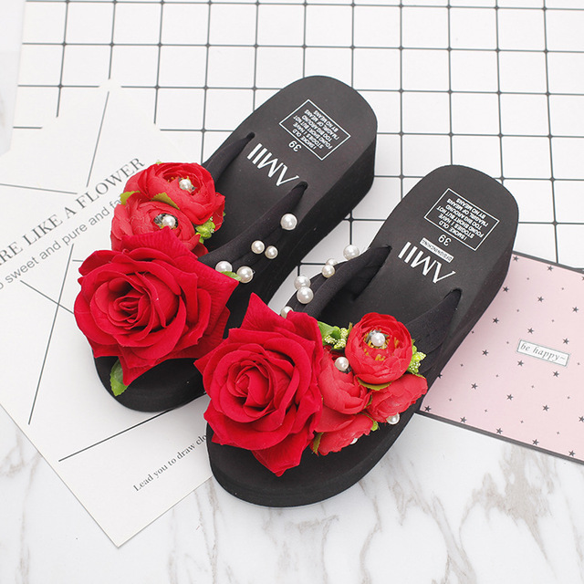 57fef9f3a3705a Summer hot style red flocking roses handmade flowers wedges high-heeled  platform shoes cool antiskid female beach slippers