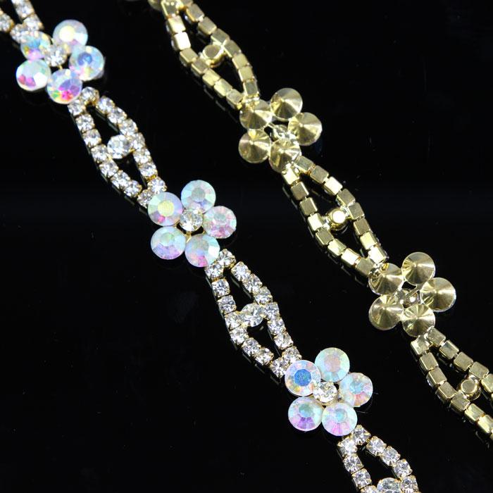 100Yards Flowers AB Rhinestone Chain Trimming For Garments Bridal Trim Sash 16mm