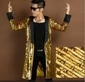 Cantante bailarina de oro larga chaqueta de abrigo abrigo outwear chaqueta masculina ropa rendimiento lentejuelas prom party mostrar bar discoteca