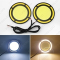2Pcs DC12V 30W COB DRL Round 72mm LED Light Car Daytime Running Light White DRL Yellow Turn Light #FD-1422