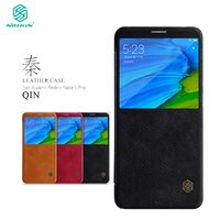 Xiaomi Redmi Note 5 Case Nillkin Qin Series PU Leather Flip Cover Case For Global Version