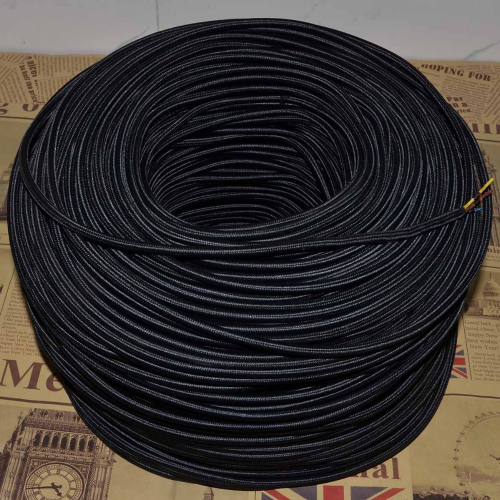 hight resolution of 3x0 75mm2 vintage lamp cord knitted cloth braided retro copper electrical wire pendant light cable 3 core fabric lamps wire 10m in wires cables from