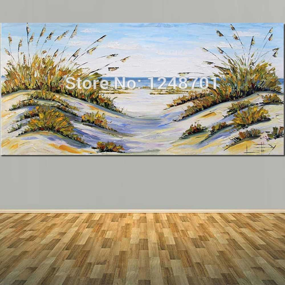 Large Size Abstract Beach Decor Coastal Art Ocean Oil Painting Palette Knife Canvas Art For ...