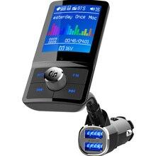 Jilang цветной экран fm-передатчик Автомобильный MP3 беспроводной Bluetooth громкая связь автомобильный комплект аудио AUX модулятор с QC3.0 двойной USB зарядкой