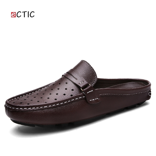 04bcd2bfd Urbano hombres conducción Zapatos de marca de lujo hombre verano backless  holgazanes diseño agujeros vestido respirable