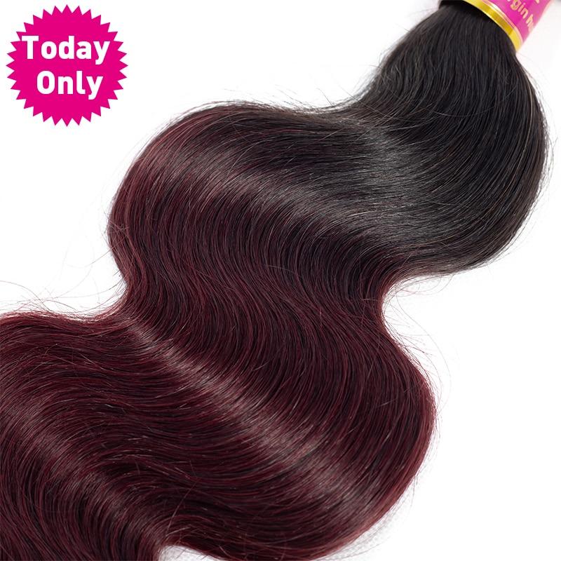 TODAY ONLY TIKAI 1/3/4 Paketes Burgundijas Brazīlijas ķermeņa - Cilvēka mati (melnā krāsā) - Foto 6
