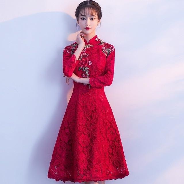 Chinese Cheongsam 2018 Wine Red Brocade Women Evening Gown Oriental ...