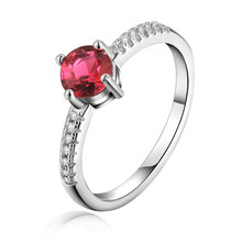 Hot , party jewelry temperament brilliant round red crystal zircon ring female fashion  silver plated  jewelry LR017