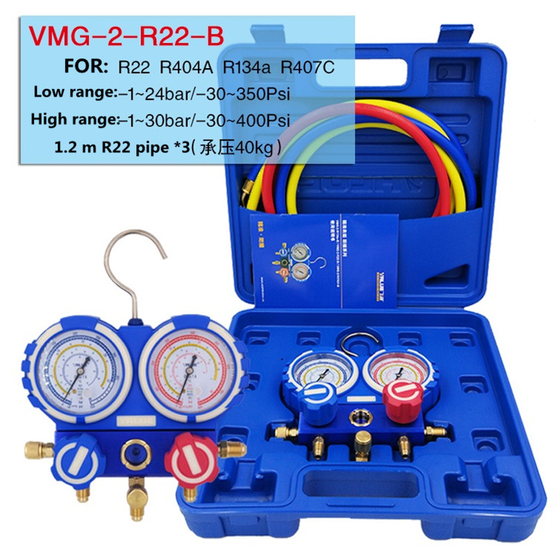 R22 R410A R134A Evitar A colisão ar-condicionado Flúor medidor medidor de pressão do refrigerante mesa Dupla com 3 pcs tubo de Líquido