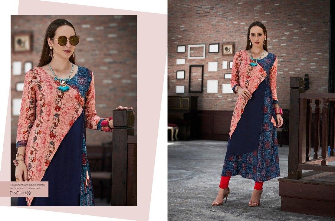 Indian Pakistan Clothing Tradition Cotton Kurta Bollywood Designer Stylish Tunic Digital Printed Top Dress Daily Party Wear