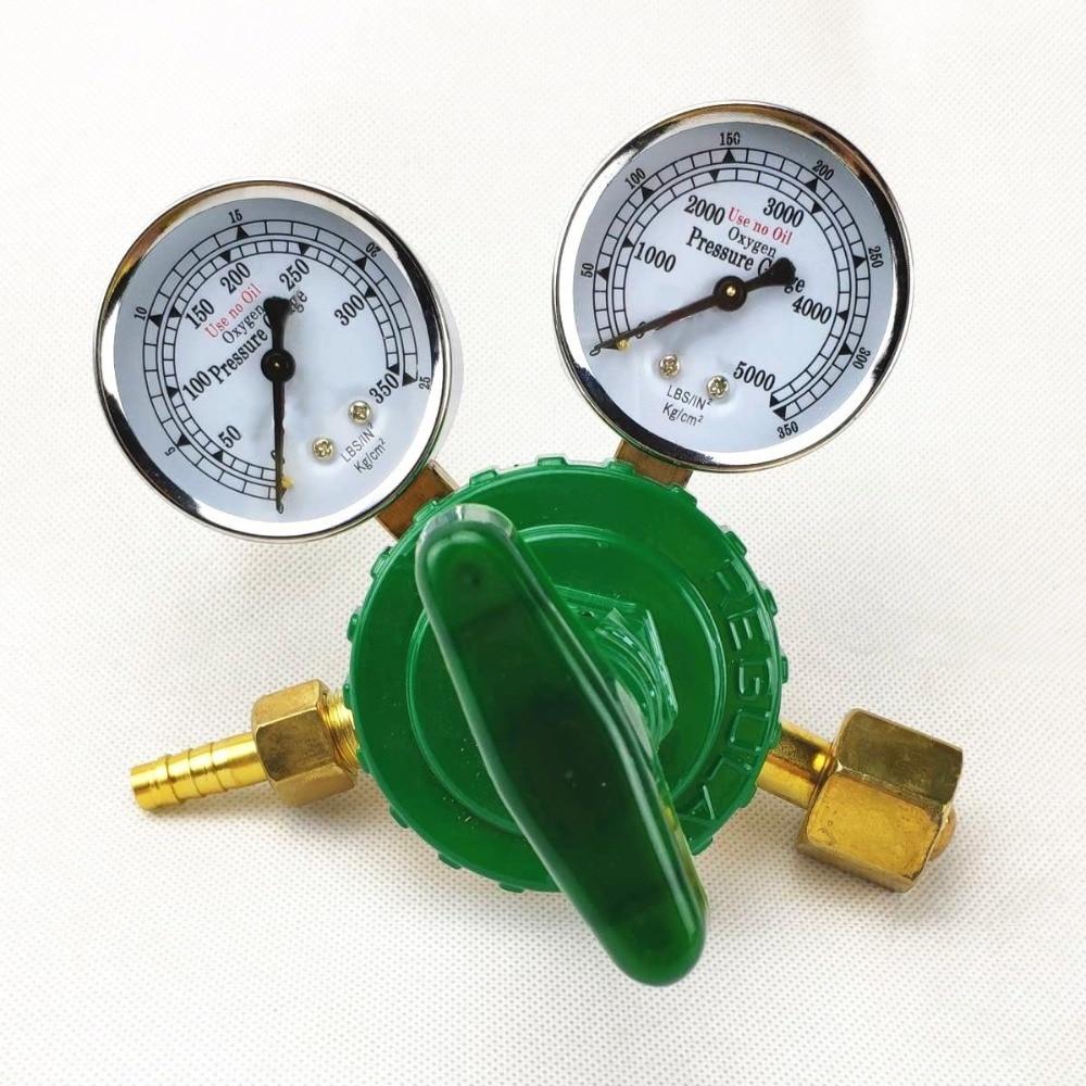Oxygen Regulator 0-350kg cm2  0-35MPa 0-5000psi  to 0-25kg cm2  0-2 5MPa  G5 8 Inlet Dual Gauge Welding Cutting Gas Pressure Reg