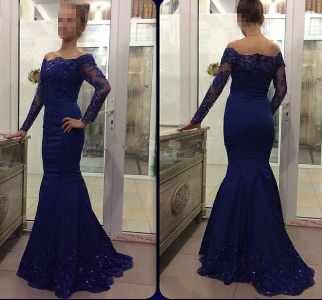 d8bffbc45d0 Sexy Off Shoulder Long Sleeve Mermaid Evening Dresses Beaded Sequins Lace  Navy Blue Formal Dress Dubai Arabic Robe De Soiree