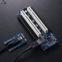 ALLOYSEED Mini PCI e to Dual PCI Adapter mini PCIE Riser to PCI Slot for Capture Card Gold Tax Card Sound Cards