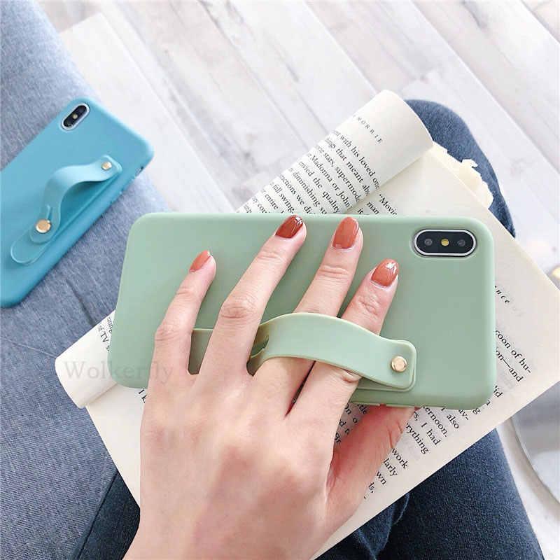 Карамельный цвет ремешок повязка на руку мягкие силиконовые чехлы для пар iphone X XS Max XR 6 6 S 7 8 Plus 5 5S подставка чехол для телефона