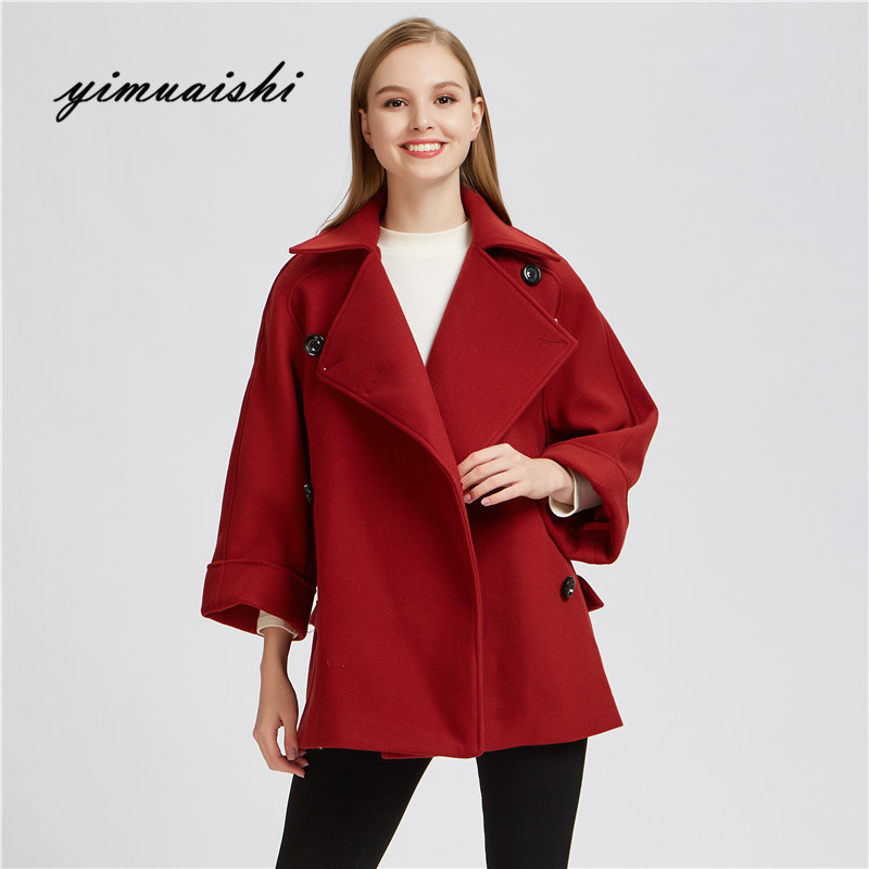 2018 Winter Coat Women Wide Lapel Belt Pocket Wool Blend Coat Oversize Long Red Trench Coat Outwear Wool Coat Women
