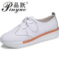 עור אמיתי נעלי פלטפורמת נשים תחרה עד הבוהן מחודדת שרוכים נעליים מזדמנים נקבת סתיו העקב חדש נעלי הליכה