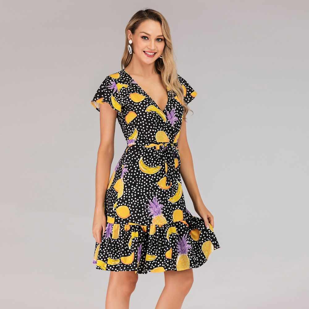 Европейский пляжный стиль ТРАПЕЦИЕВИДНОЕ ПЛАТЬЕ высокая посадка, ремень v-образный вырез короткий рукав 2019 Мода фруктовый принт отдых летнее платье для женщин