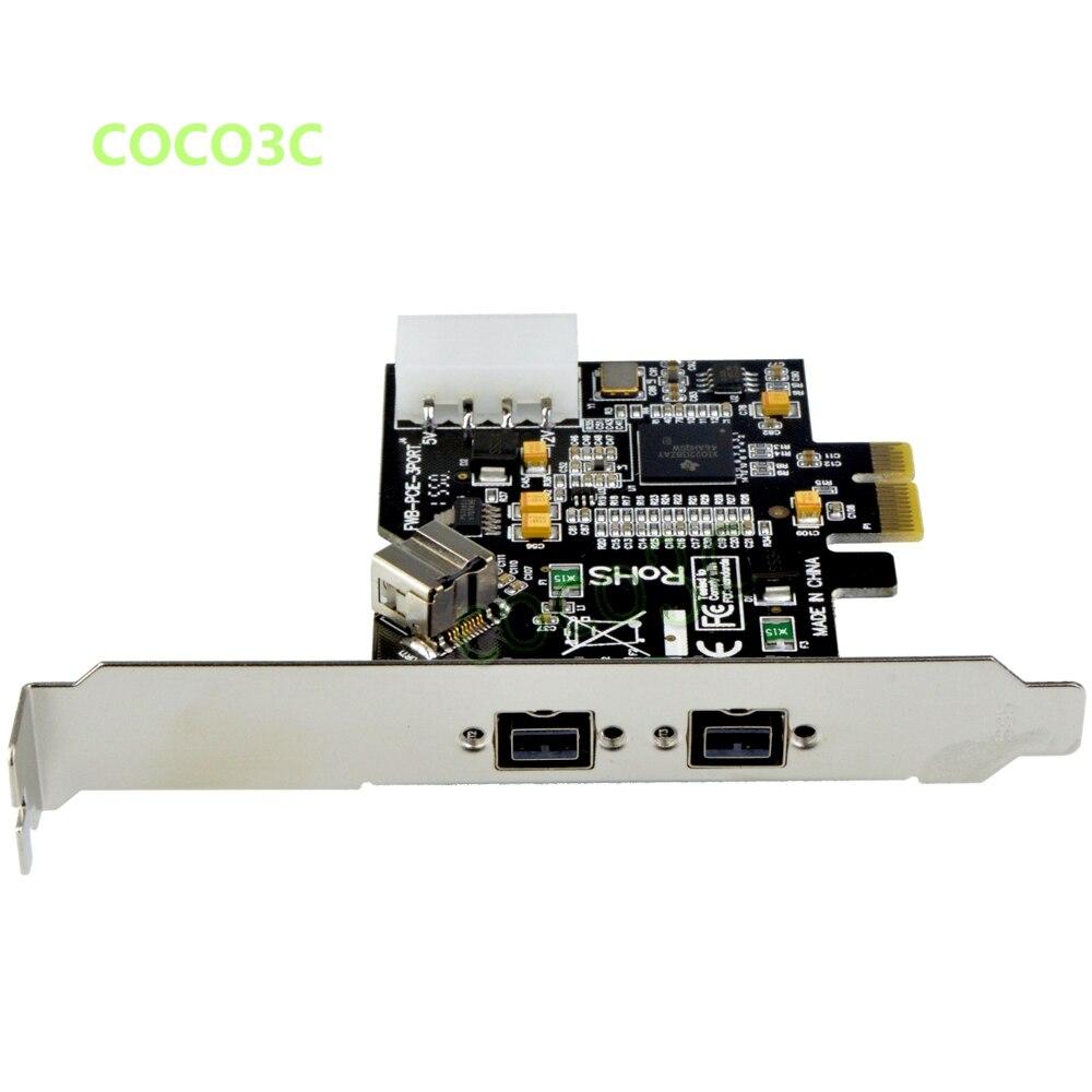 ̀ •́ Pci-e para 2 + 1 puertos 1394B tarjeta externa FireWire 800 400 ...