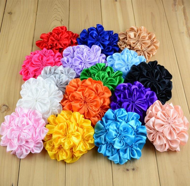 120 pcs/lot 10 CM 16 couleurs nouveau-né mode Satin cheveux fleur pour enfants cheveux accessoires fait main tissu fleurs pour bandeaux
