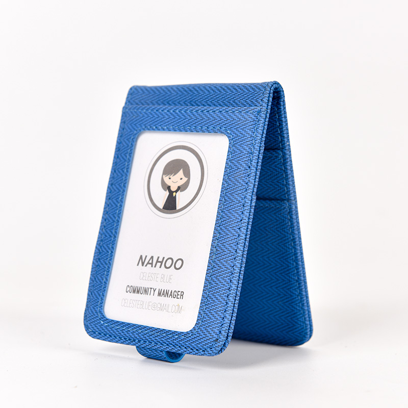 Nahoo PU Leather ID Badge Case Clear And Color Border Lanyard Holes Bank Credit Card Holders ID Badge Holders Accessories