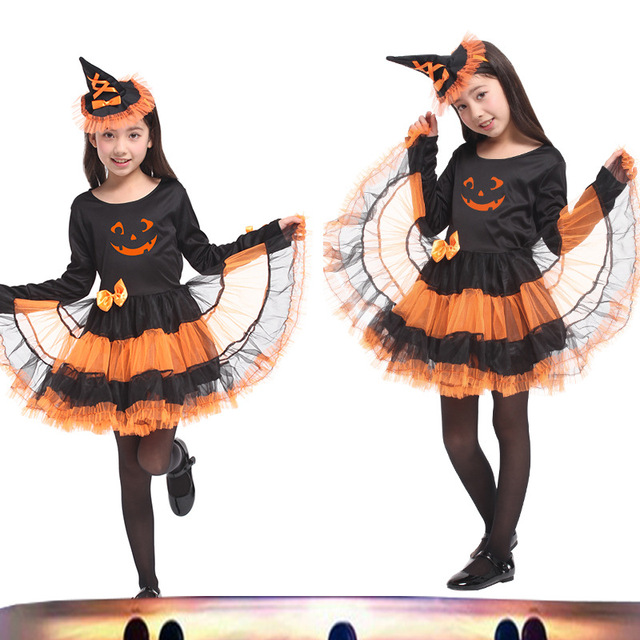 childrens halloween pumpkin witch costume children halloween costume suit girls halloween cosplay free shipping