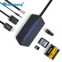 USB C HDMI Hub 3.0 Type C Adapter USBC to VGA HDMI 3.5mm Audio Jack CF SD TF Card Reader Slot USB 3.0 Adapter for Macbook Laptop
