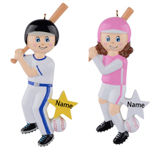 цена на Personalized baseball boy polyresin glossy Christmas tree ornament or for home decoration 2015
