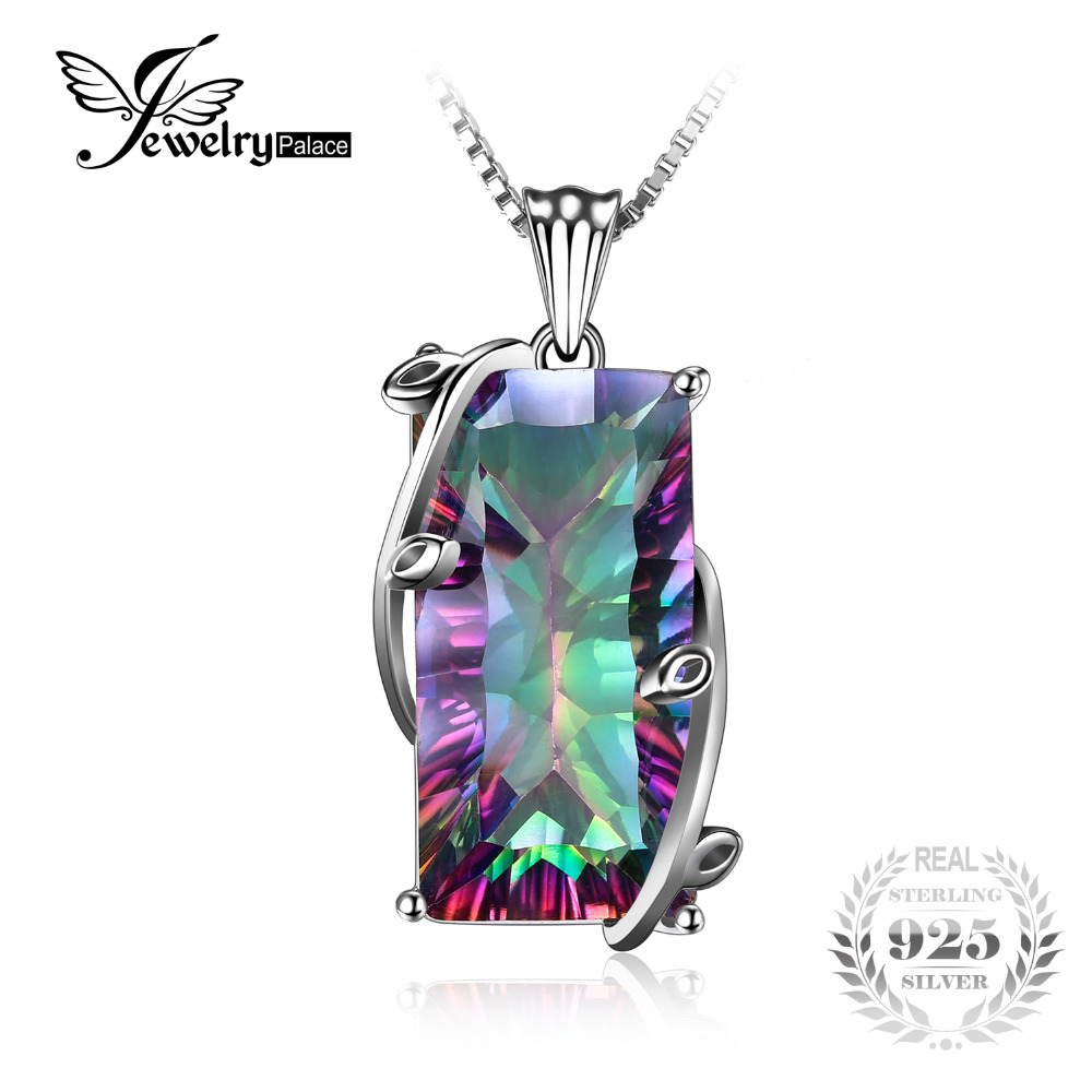 JewelryPalace 16ct Natural Fire Rainbow Mystic Topaz Necklace Charm Solid 925 Sterling Silver Vintage Fashion Women