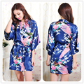 2016 Women Robe Pajama Japanese Yukata Kimono Satin Silk Vintage Bathrobe Nightgown Sexy Lingerie Sleepwear S M L XL XXL