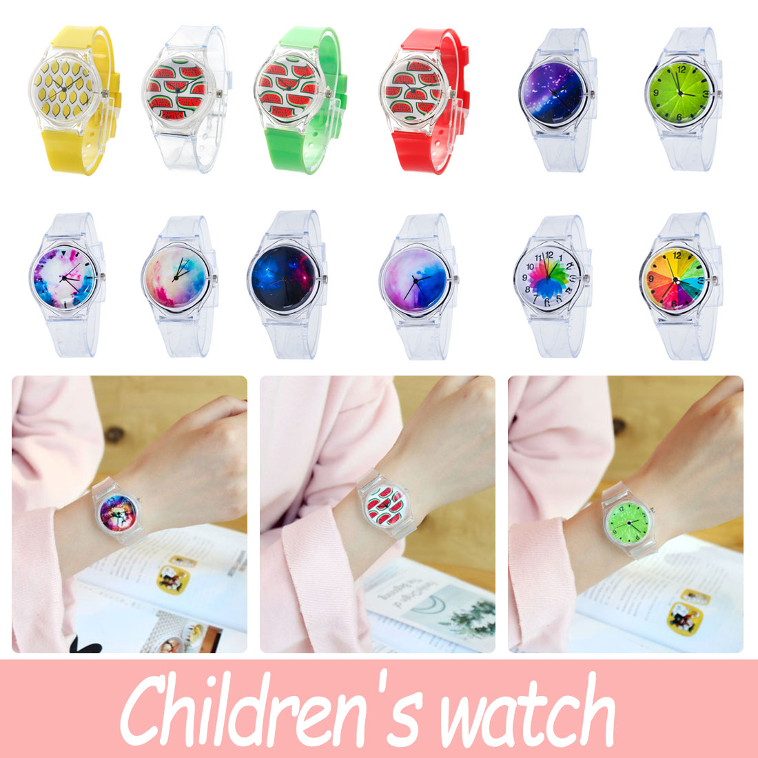 Simple Fashion Women Watches Casual Ladies Fruit Wristwatch Clock Silicon Strap Casual Ladies Women Watches