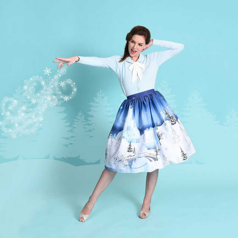 5371553b0dc2e ... Skirt Women High Waist Christmas Plus Size Floral Print Polka Dot  Ladies Skirts Skater 50s 60s ...