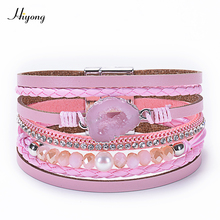HIYONG Boho 4 Colors Multiple Layer Leather Bracelet Crystal Druzy Stone Charm Wrap Bracelets For Women Magnetic Bangles Jewelry