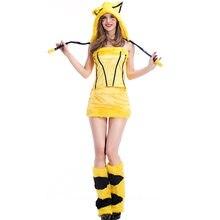 Disfraces de Halloween carnaval kigurumi Chrismas party pub cosplay chicas  sexy dressdress Pikachu felpa fuzzy trajes cfb09a91274b