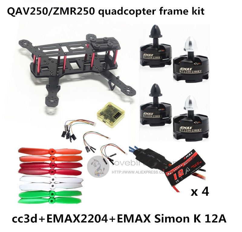 QAV250 / ZMR250 mini drone quadcopter DIY pure carbon frame kit EMAX2204 2300KV motor + EMAX Simon K 12A ESC + CC3D + 5045 prop new qav r 220 frame quadcopter pure carbon frame 4 2 2mm d2204 2300kv cc3d naze32 rev6 emax bl12a esc for diy fpv mini drone