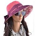 Primavera verano uv sombreros de sun para mujeres sombrero de paja paja de algodón compuesto formación casquillo sombrero de la playa del organza gorro sombrero Topper gorras