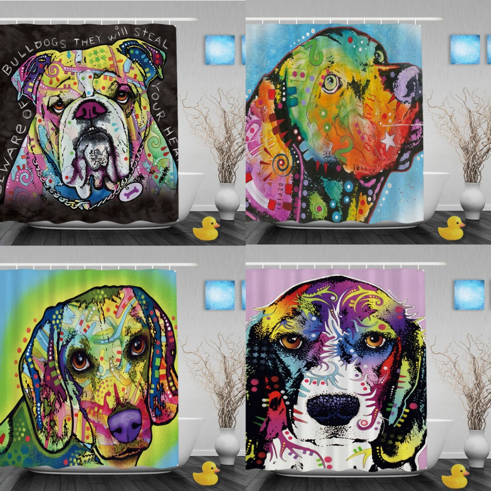 Funny Pet Dog Beagle Waterproof Shower Curtain Cute Animal Polyester Fabric Bathroom Curtains With Hooks For Home Decorations In From