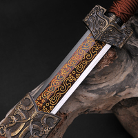 Red Blade Carving Dragon Chinese Sword Fully Hand Made Damascus Folded Steel Oil Quenched Hand Polished