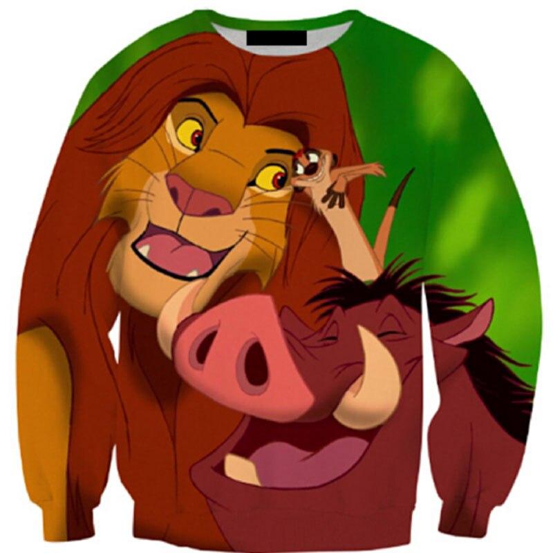 Забавный мультфильм качество Толстовки Для мужчин/Для женщин Толстовки 3D печатных Король Лев Симба модные Стиль Толстовки 3D печати