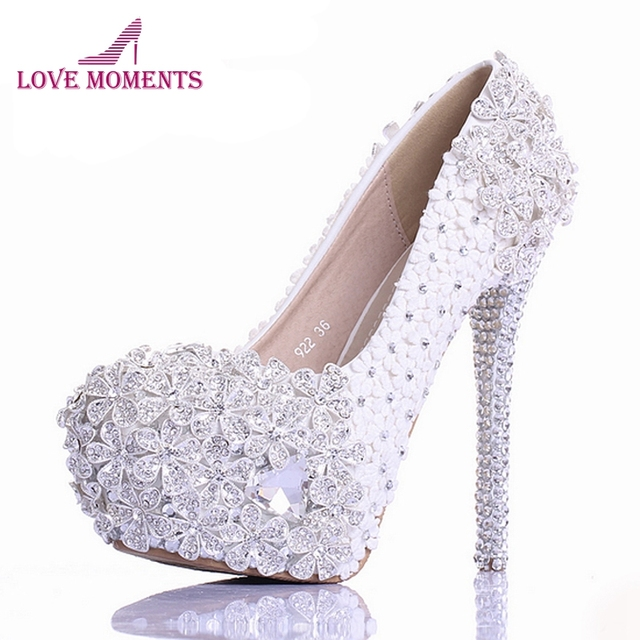 White Lace Flower Rhinestone Wedding Shoes Luxury Handmade High Heel Bridal  Shoes Evening Prom Pumps 2018 Newest Design Size 10 ed5590b41b7a