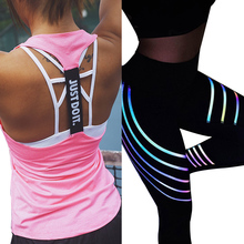 Reflective Leggings + Sports Top Vest New Yoga Set Fitness Clothing  Running Tights Jogging Workout Yoga Leggings Sport Suit