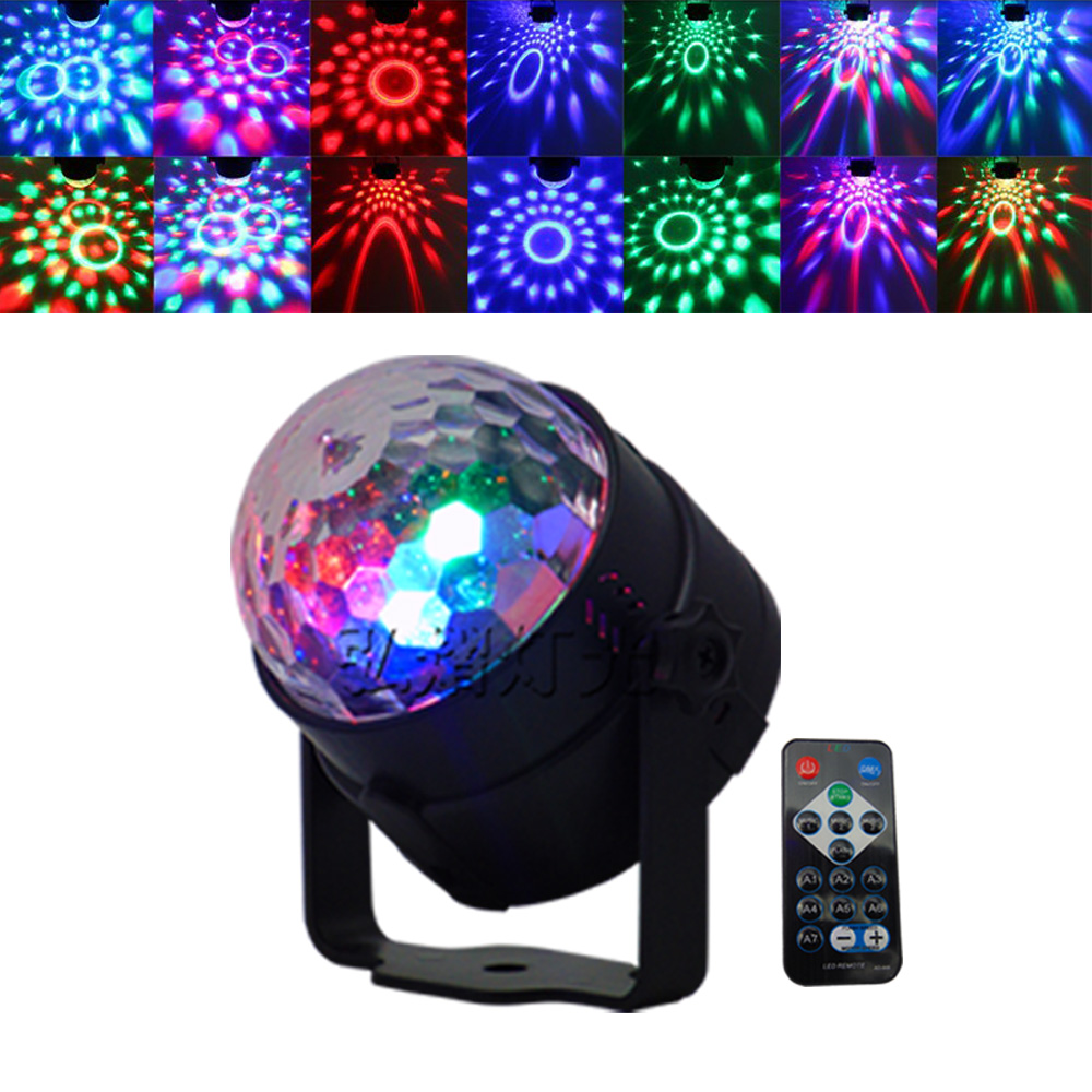 Led Stage Lamp DJ KTV Disco Laser Light Party Lights Sound IR Remote Control Christmas Projector Mini RGB 3W Crystal Magic Ball hot 6 3w leds voice cotrol laser stage light mp3 magic ball light ir remote digital rgb led crystal magic ball