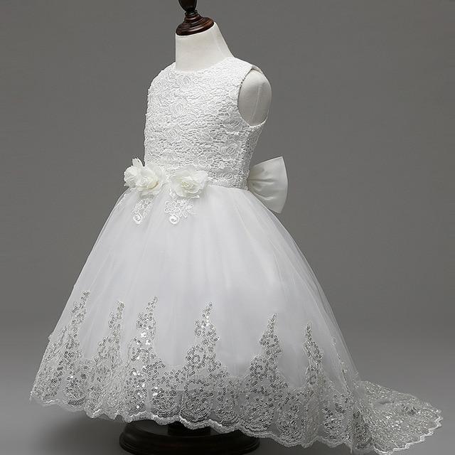 f2185b9ae High-quality girl Girdle Sleeveless Dress Flower Girl Flower Trailing Dress  Princess Children s Dress White Pink Three-color 2-1