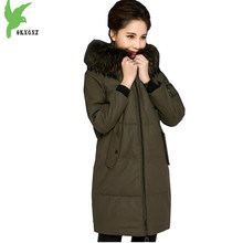 High-quality Leather Women's Winter Down Cotton Jacket Sheep Skin Coat Raccoon Fur Collar Parkas Plus Size Slim Outerwear OKXGNZ