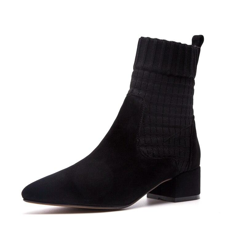 Causal Mujer Chico 39 Cr1243 De Deslizamiento black Tobillo Mujeres Gruesos Tacones Botas Zapatos Beige Enmayer Med El Tamaño 34 Punta Moda g4Y6Tgqxw