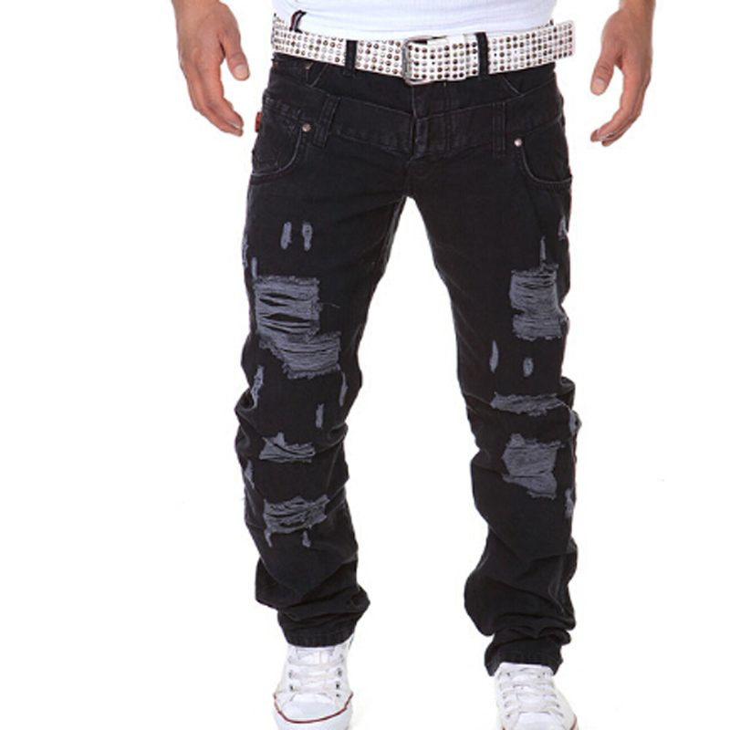 The real man spring Summer The New Leisure jeans Men fashion Double waist Hole high quality engine trousers TE001
