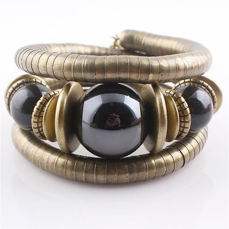 Afrikaanse Etnische stijl Kleur bal Vintage Gebogen Stretch Manchet Armbanden Bangles Retro Snake Armband Vrouwen Klassieke Sieraden Gift