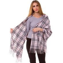 Cashmere Silk Check Plaid Scarf Wrap Oblong Shawl Warm Fashion Long Thick Hijab Top Quality Tartan Blanket Autumn Winter Pink