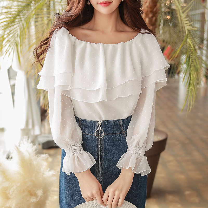 Здесь продается  original design 2018 brand shirt female spring fashion long sleeve slash neck white vintage cute chiffon blouse women wholesale  Одежда и аксессуары