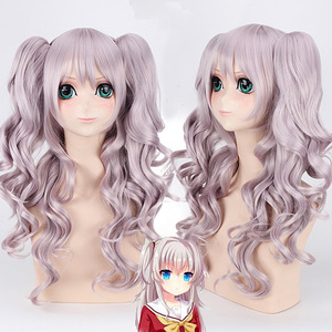 Charlotte Tomori Nao 70cm Long Curly Wavy Cosplay Wig for Women Female High Quality Heat Resistant Synthetic Hair Purple Anime(China)